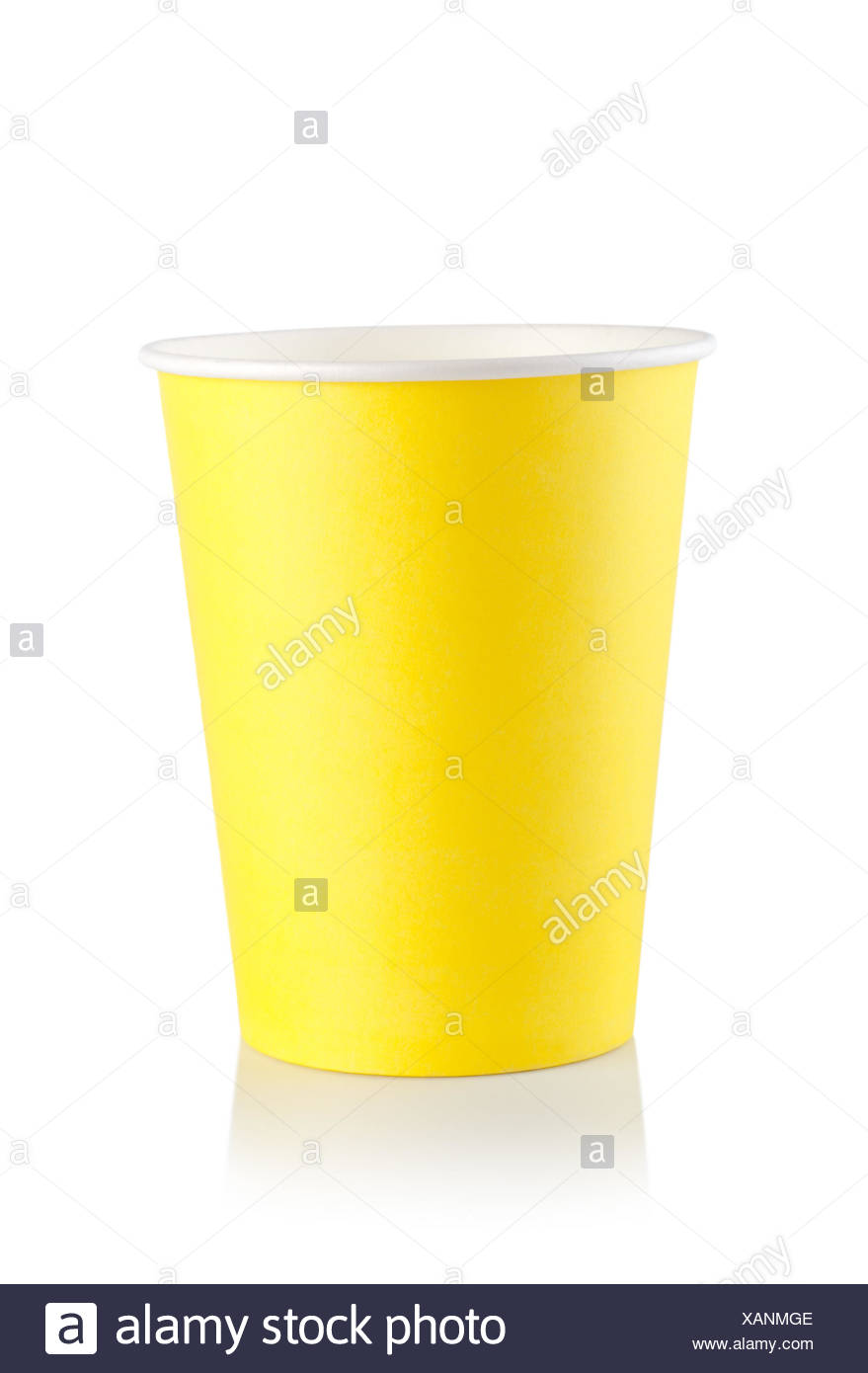 Yellow disposable cup isolated on a white background. Stock Photo