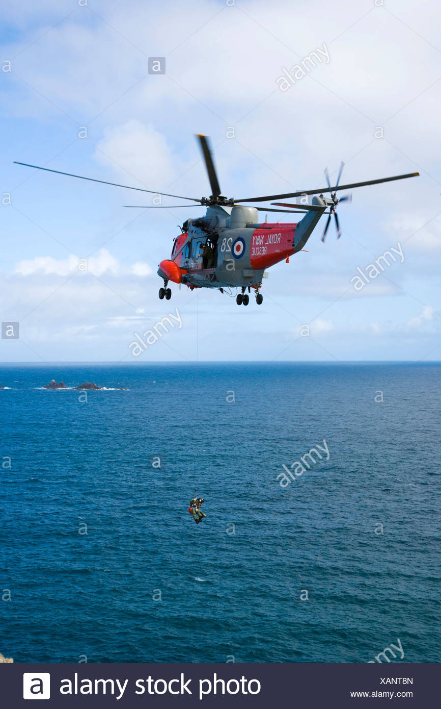 Royal Navy Rescue helicopter, Land's End, Penn an Wlas, Cornwall, England, United Kingdom, Europe Stock Photo