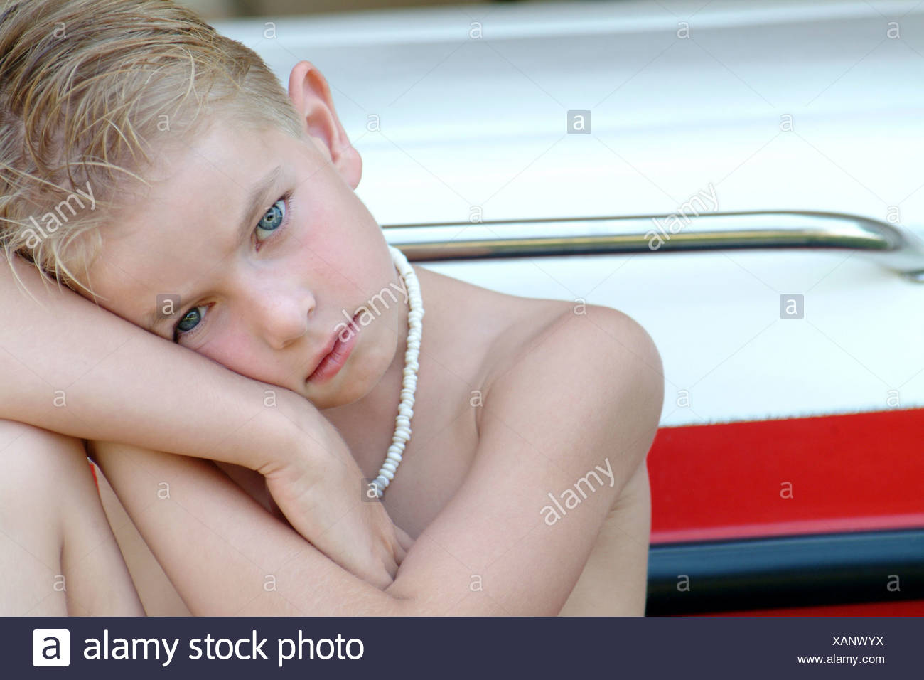 Boy looking sad - Stock Image
