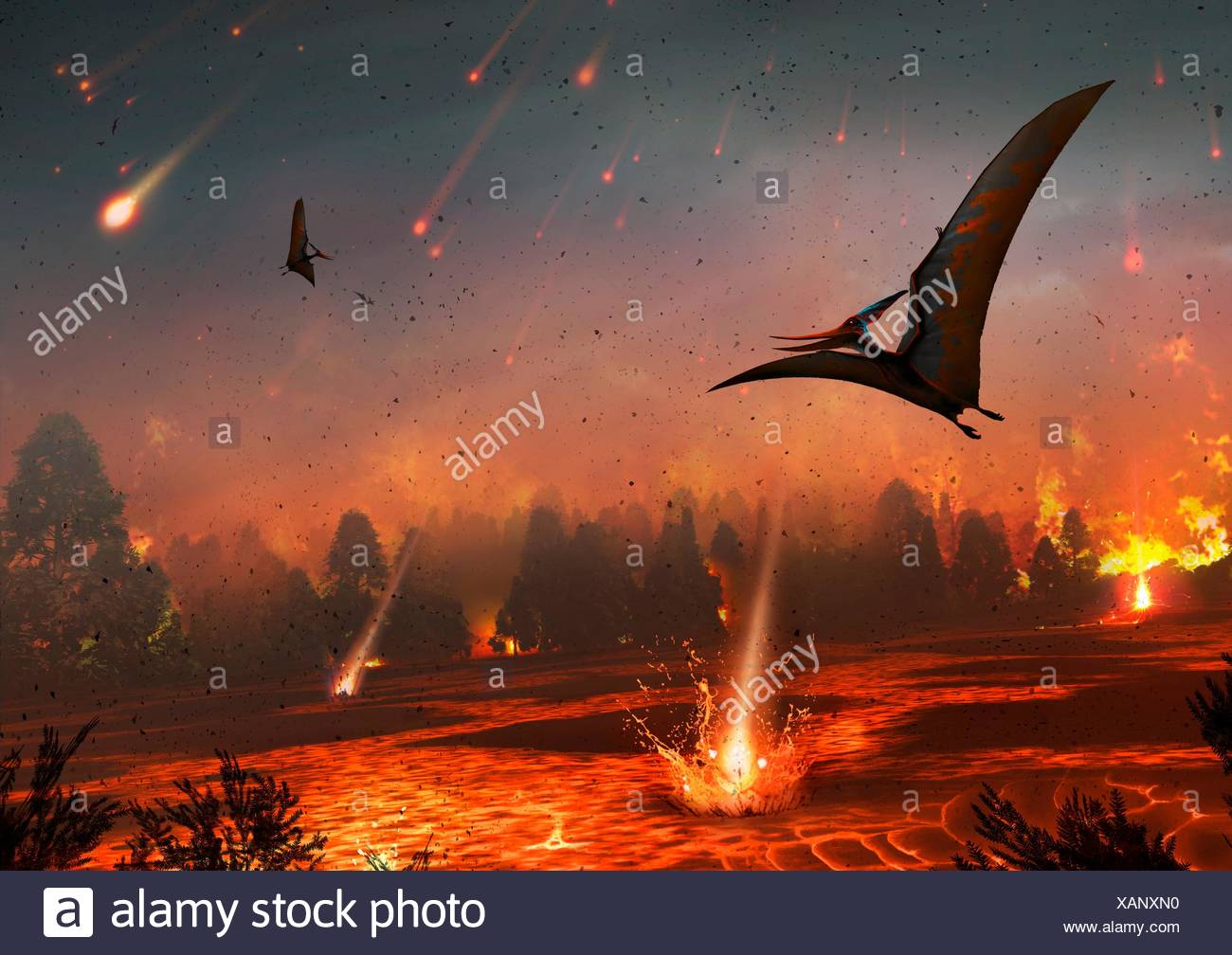 Artwork of pterosaurs flying over a scene of destruction Some 65 million years ago the impact of an asteroid or comet with the - Stock Image