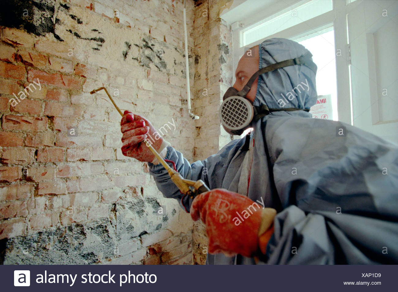 Damp Proofing Applying chemical treatments with a spray gun - Stock Image