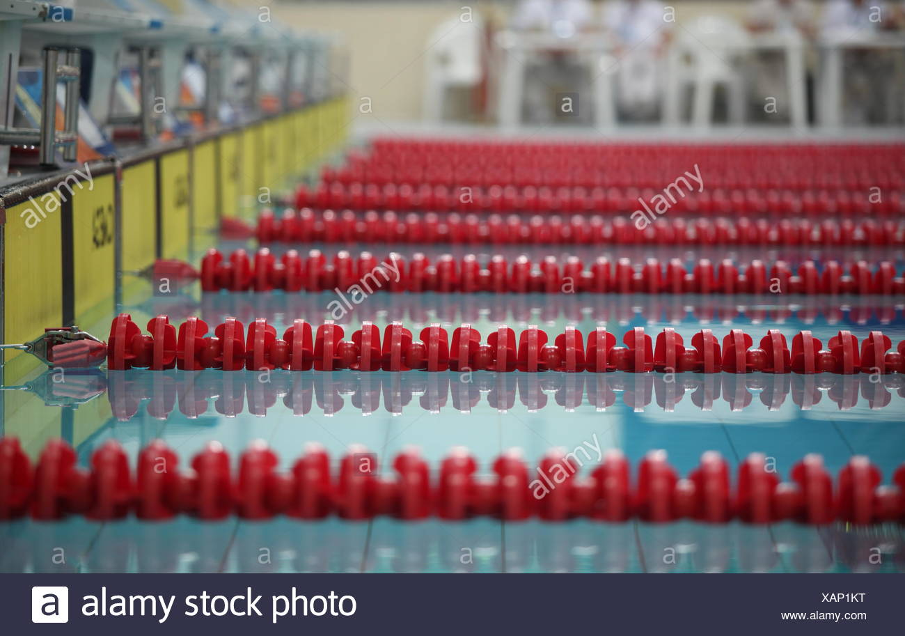 red swimming lane marker - Stock Image