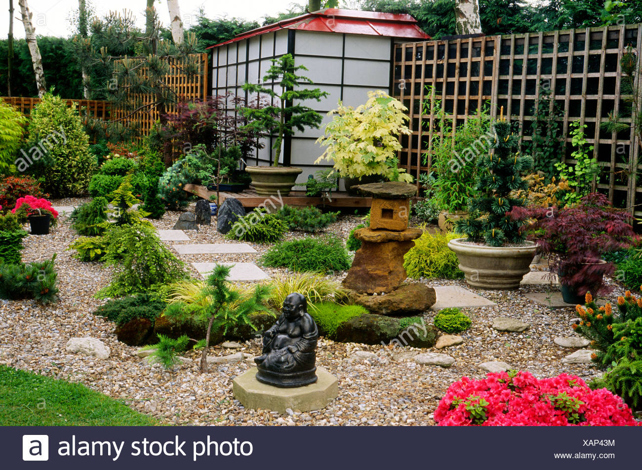 Japanese Style Small Garden England Uk Garden Small Garden Ornaments Buddha Gravel Miniature Trees Acers Pavilion Design Stock Photo Alamy