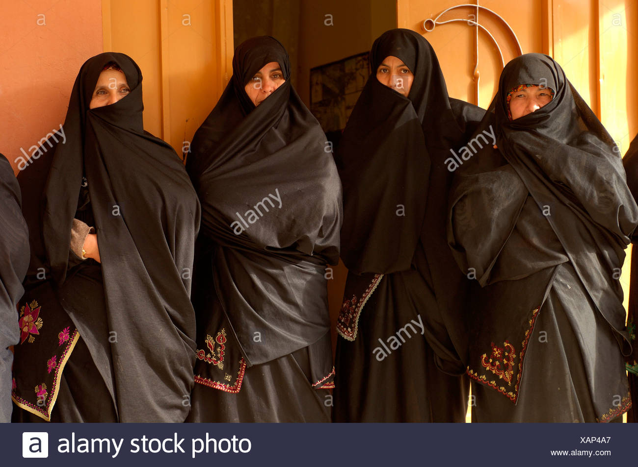 woman portrait veils Islam veil Muslims Islam Argan Oil Coorporative Al Baraka Douar Ini In'Tizghrt Ameln Valley Tafraoute - Stock Image