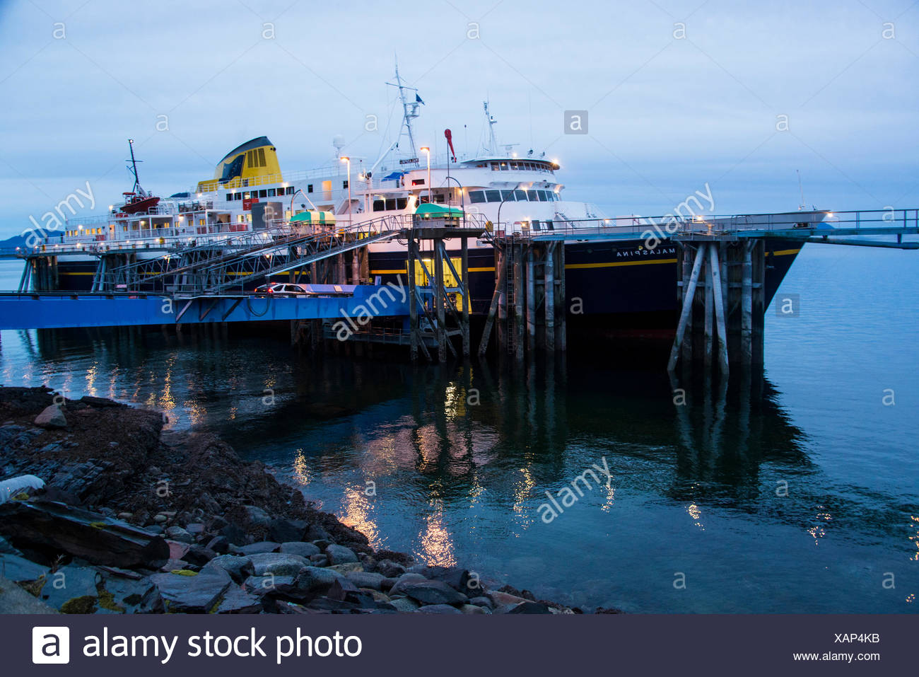 inside passage, USA, Alaska, state ferry, ferry, ship, evening - Stock Image