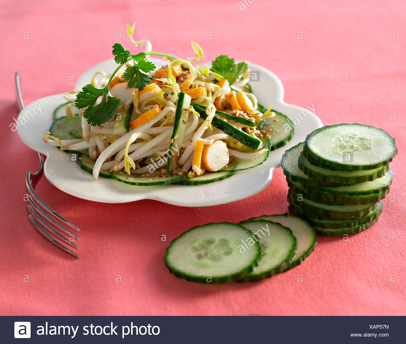 Soya Beans and Crab Salad - Stock Image