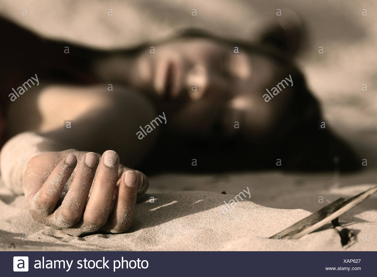 death,dead body,unconscious - Stock Image