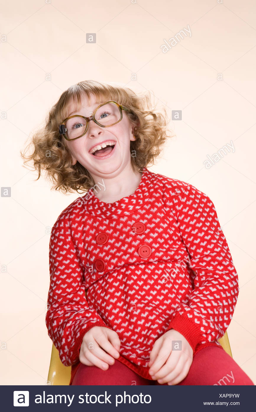 A geeky girl laughing Stock Photo
