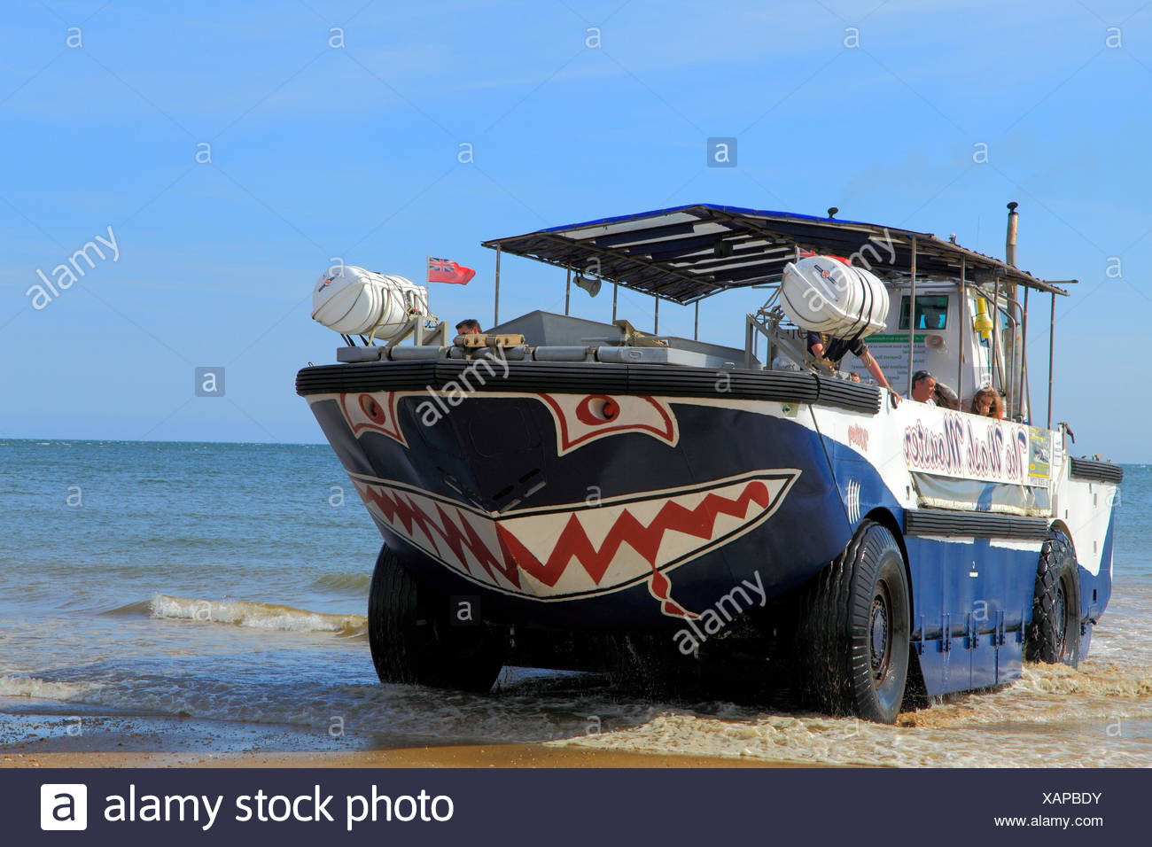The Wash Monster, pleasure, sea cruises, trips, cruiser, amphibious vehicle, Hunstanton Beach, Norfolk, England, UK - Stock Image