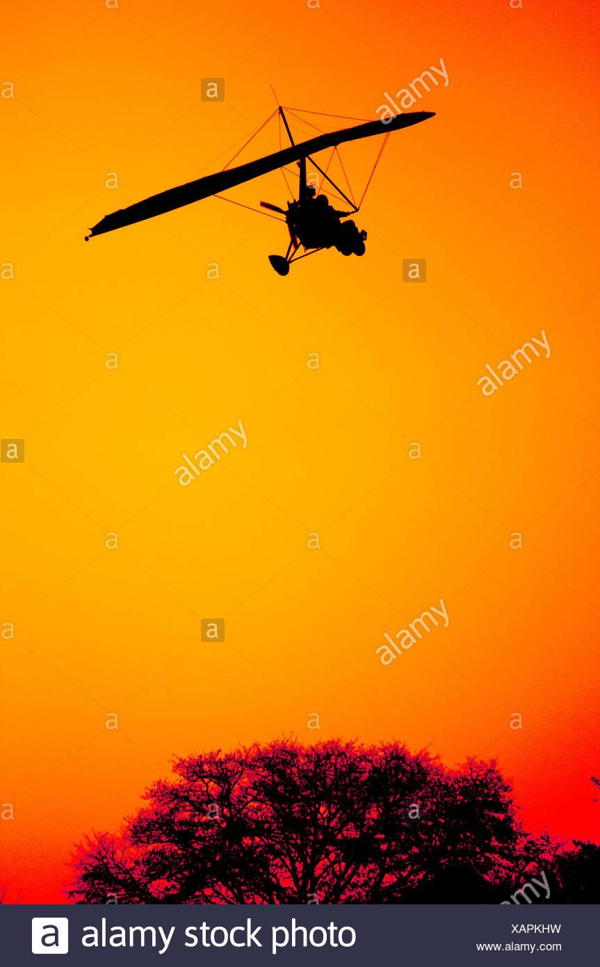 Ultra Light Aircraft on Final Approach - Stock Image