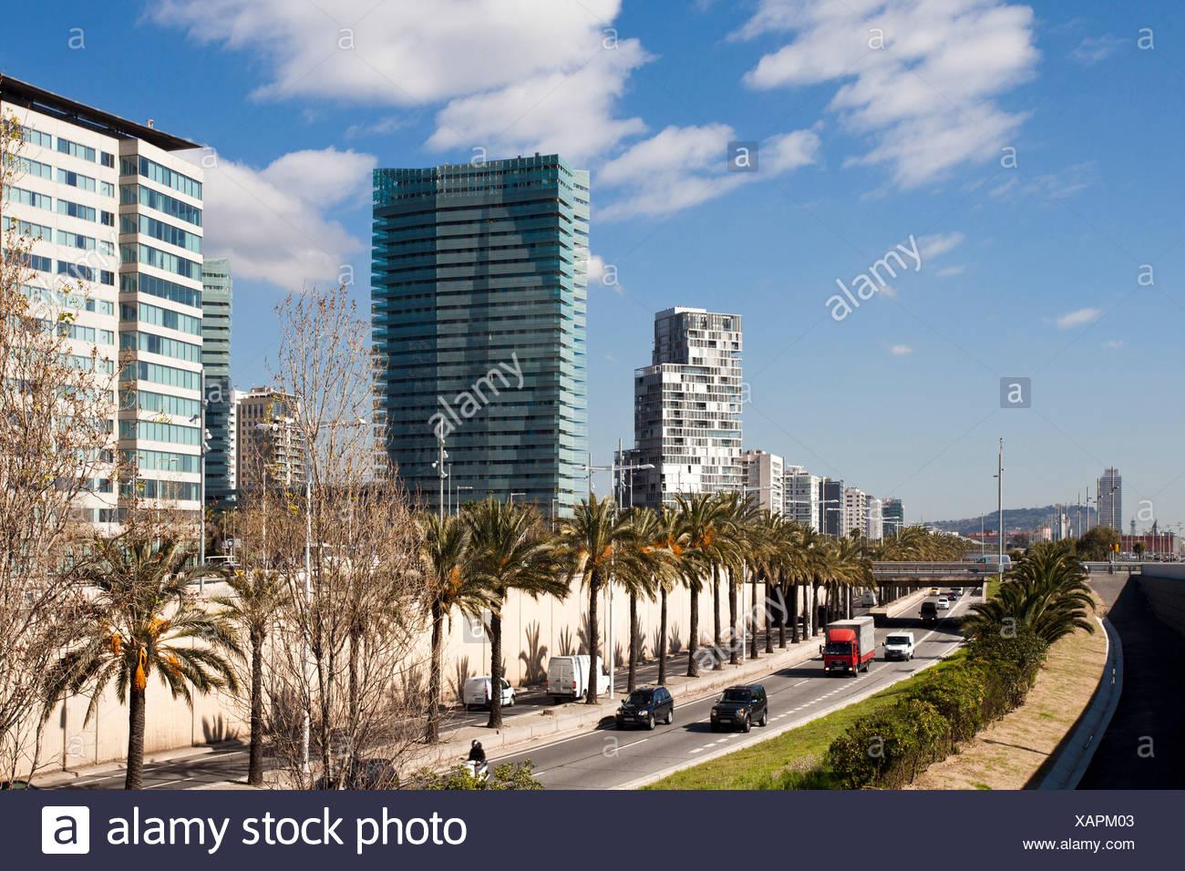 Spain, Europe, Catalunya, Barcelona, Diagonal Mar, Water front, Ronda Litoral - Stock Image