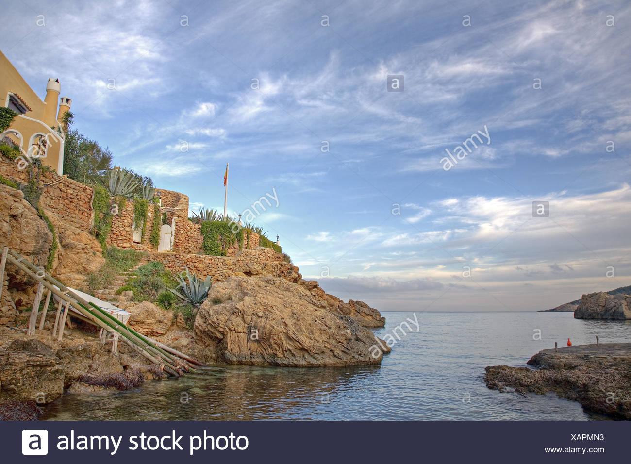 Spain, the Balearic Islands, Ibiza, bile coast, house, - Stock Image