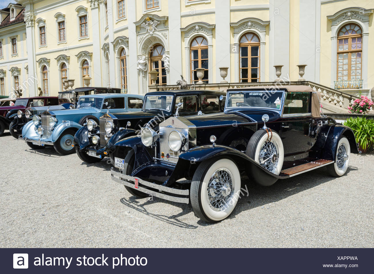 Rolls-Royce classic cars parked in front of Ludwigsburg Palace, Classics meets Barock classic car meeting, Ludwigsburg Palace, - Stock Image