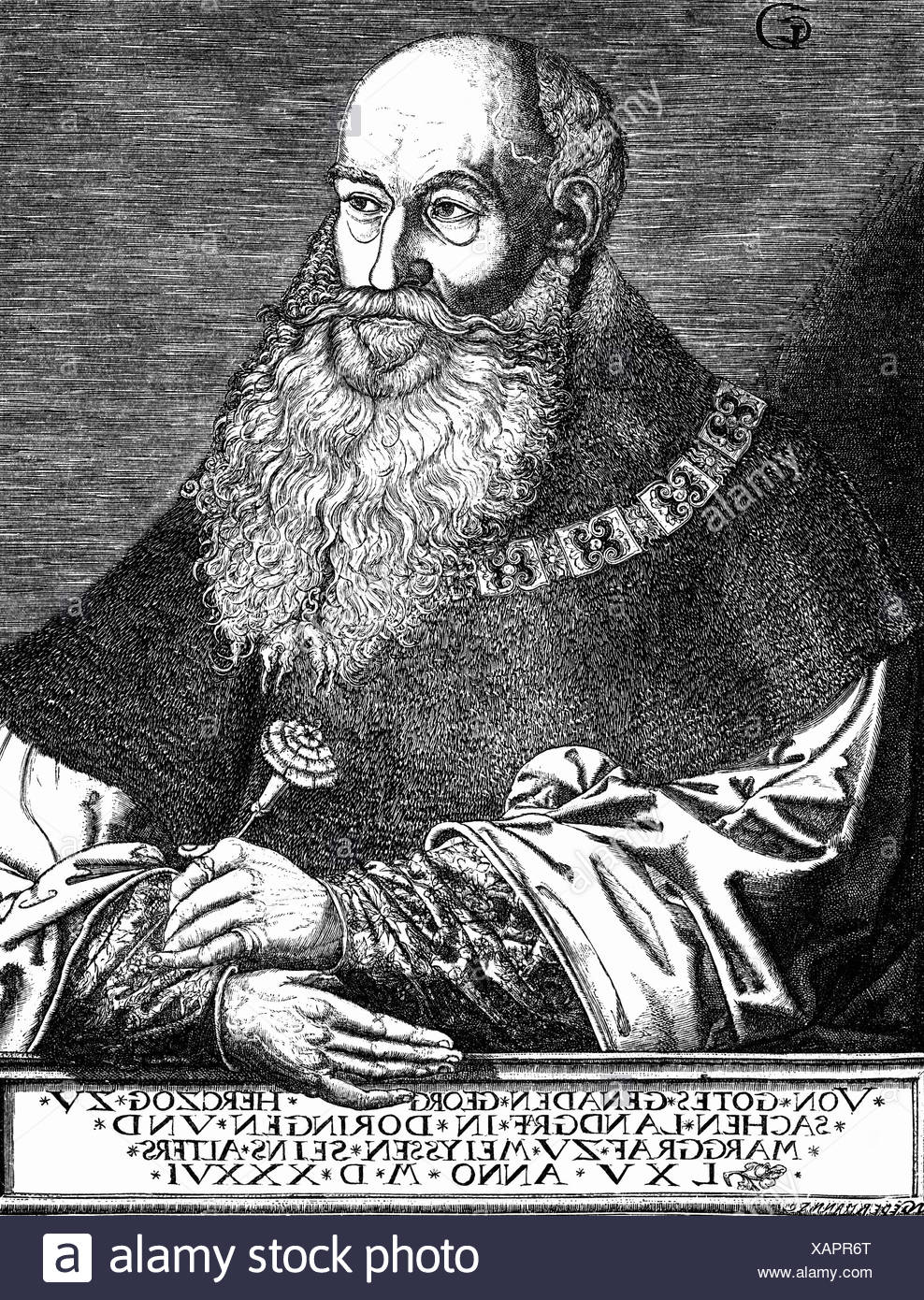 George 'the Bearded', 27.8.1471 - 17.4.1539, Duke of Saxony 12.9.1500 - 17.4.1539, half length, copper engraving by Georg Penecz, 1537, , Artist's Copyright has not to be cleared - Stock Image