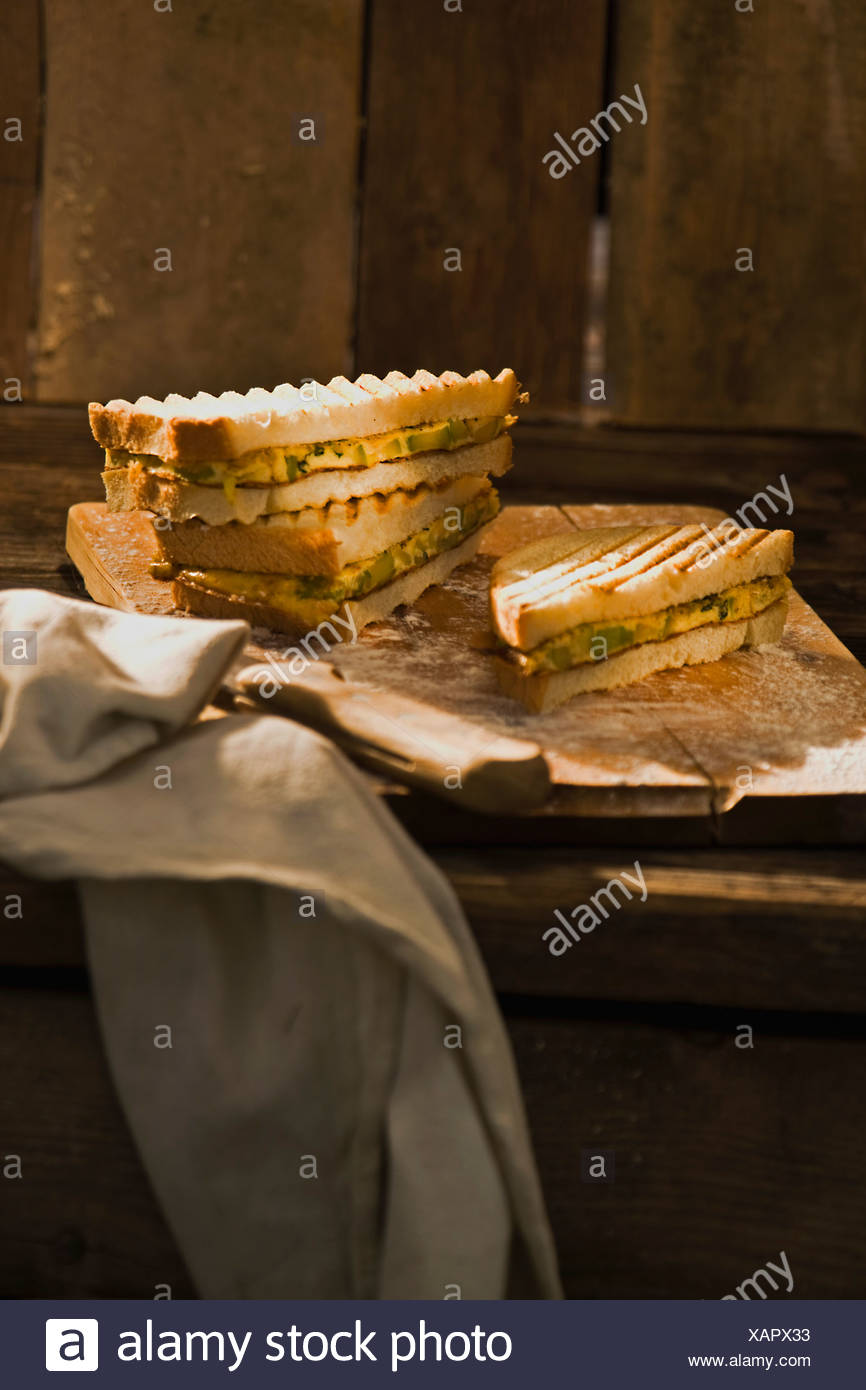 Zucchini omelet sandwich - Stock Image