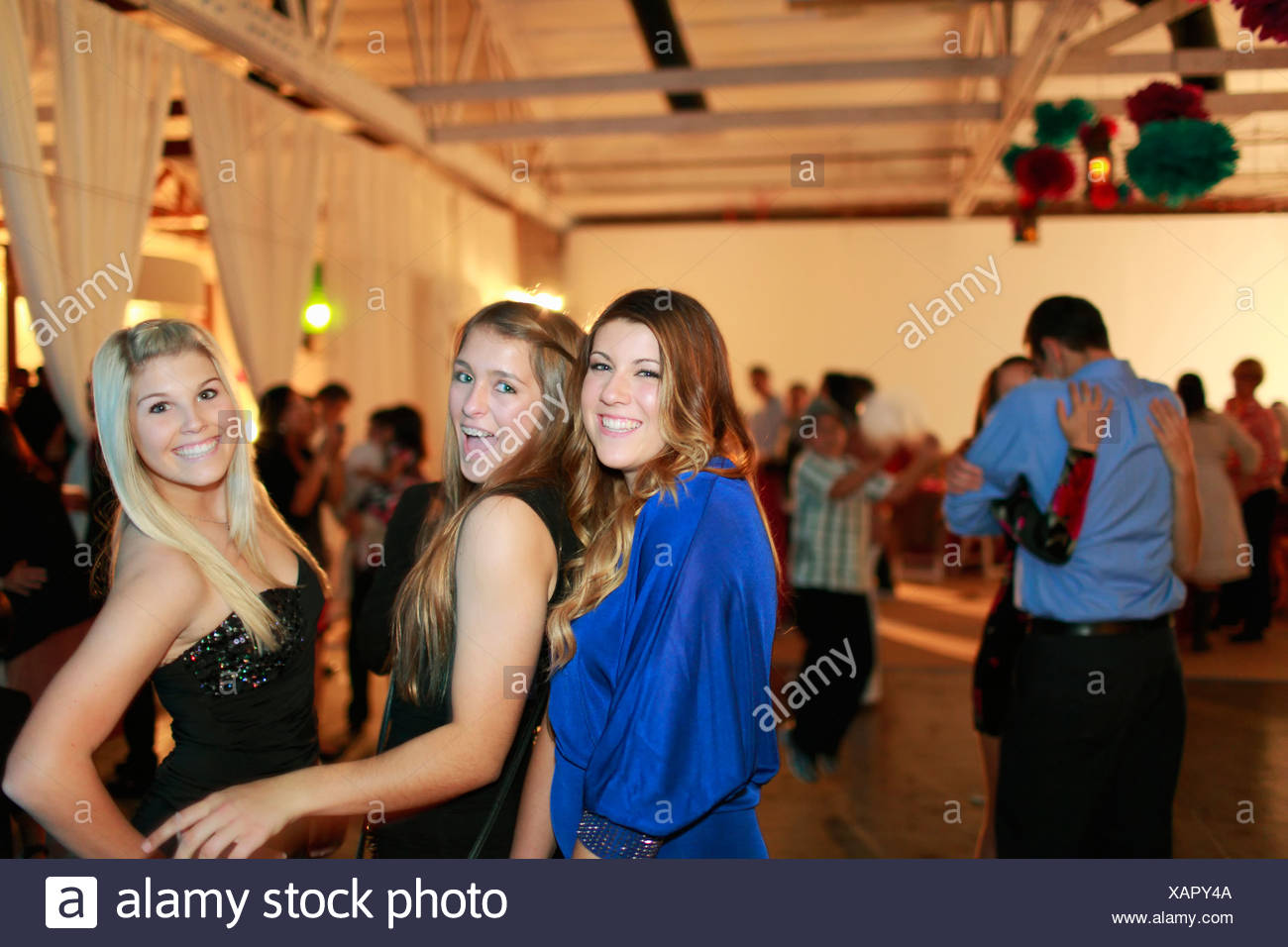 fc001cacd Teenage girls dancing at birthday party Stock Photo  282016682 - Alamy