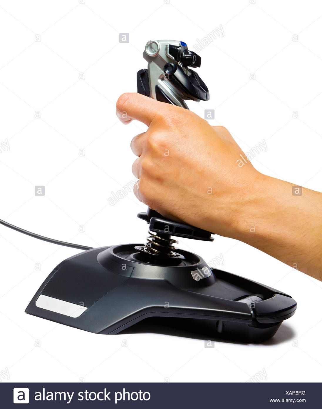 male hand with a game joystick - Stock Image