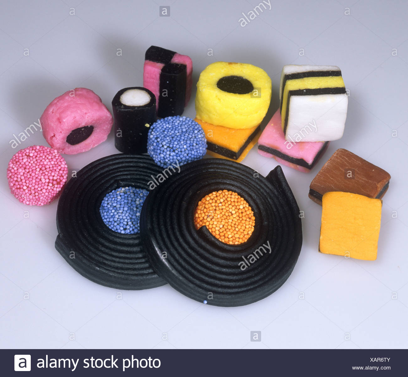 Sweets, confectionery made from liquorice, Liquorice Allsorts Stock Photo
