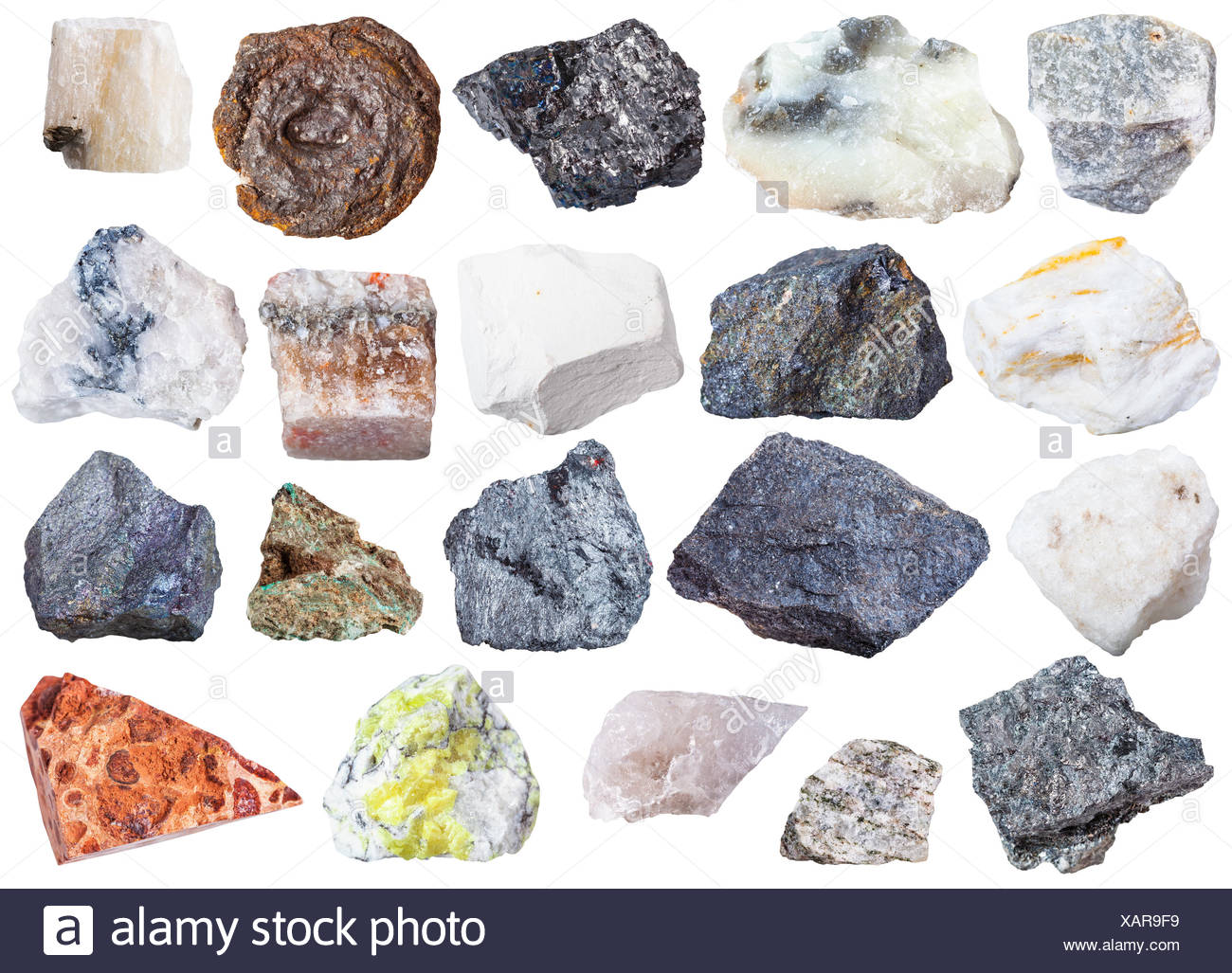 collection of natural mineral specimens - Stock Image
