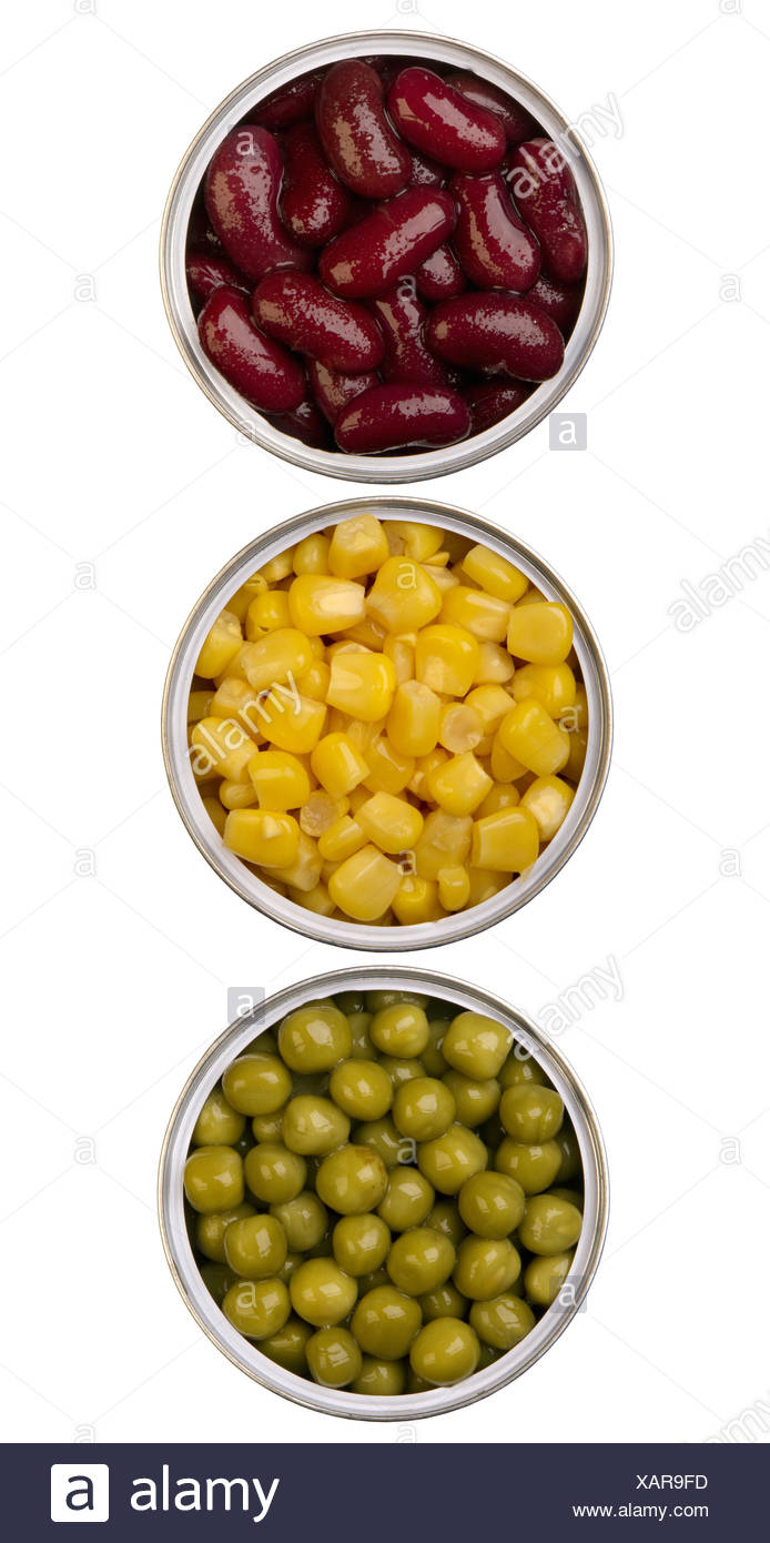 canned beans, peas and maize in metal cans - Stock Image