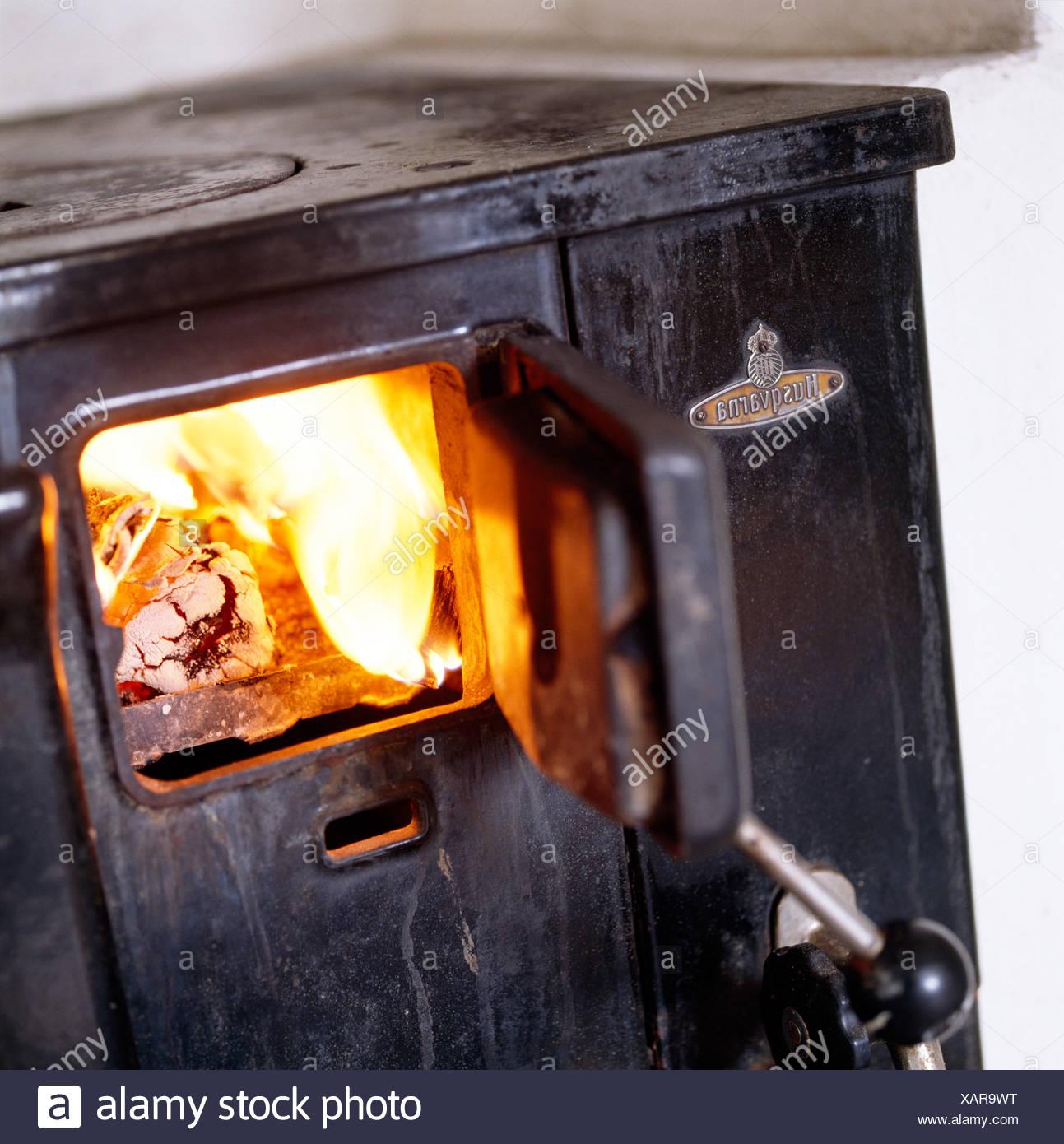 Old wood stove. Stock Photo