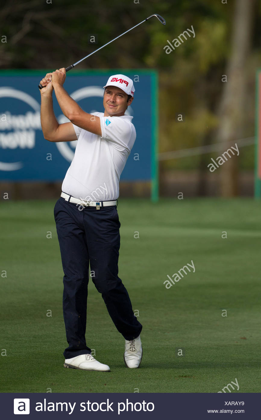 Julien Quesne on Day 1 of the Omega Dubai Desert Classic 2014, Emirates Golf Club, Dubai, UAE. - Stock Image