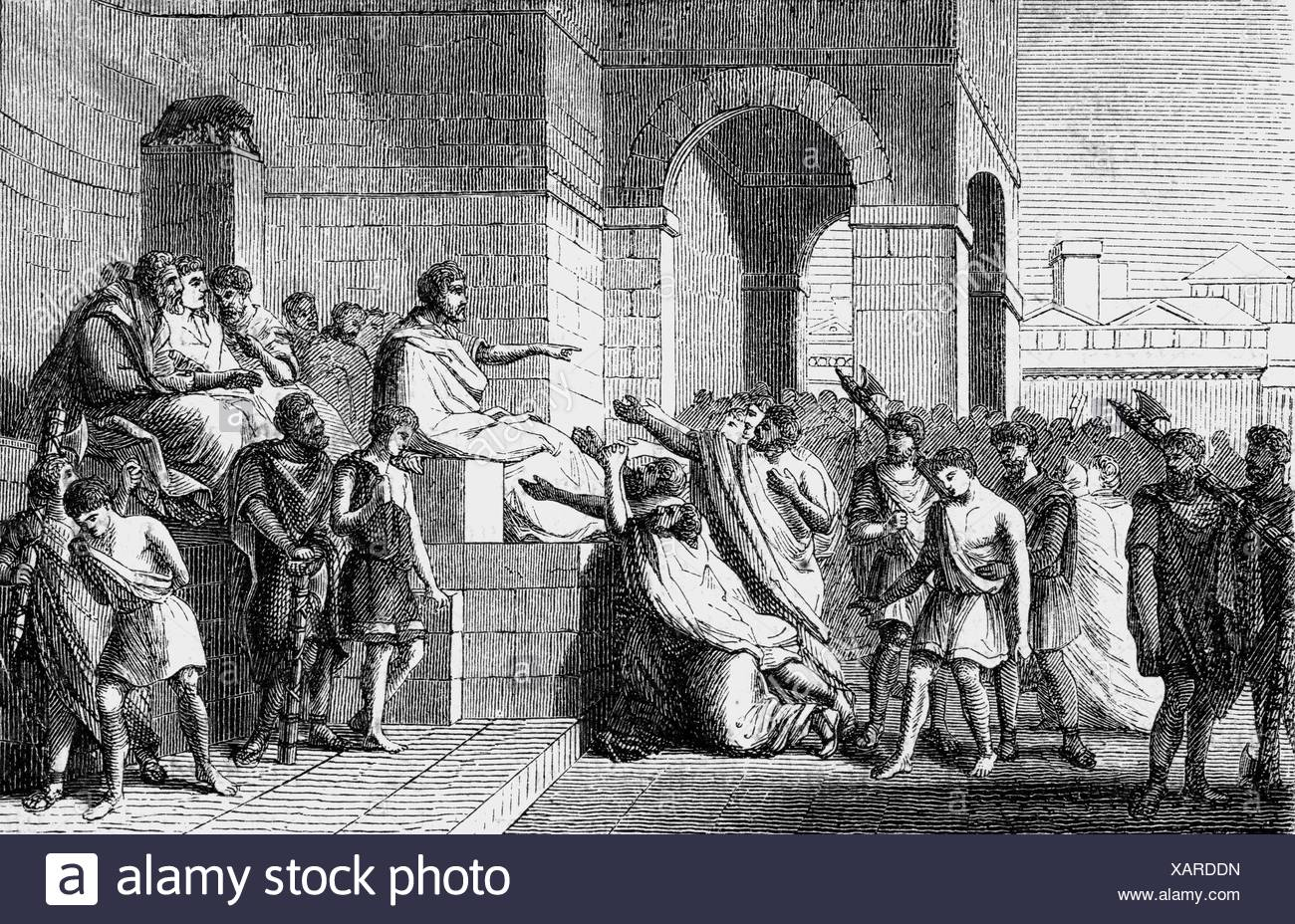 Brutus, Lucius Iunius, Roman politician, consul 509 BC, half-length, condemns his sons Titus and Tiberius to death, wood engraving, 2nd half 19th century, Additional-Rights-Clearances-NA - Stock Image