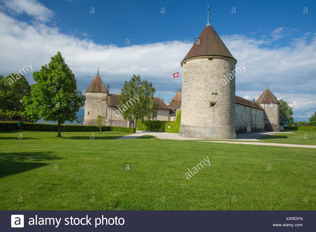 La Cote VD, castle, role, roll, lake Geneva, canton, VD, Vaud, Western Switerland, Romandie, lake Geneva, Switzerland, Europe, - Stock Image