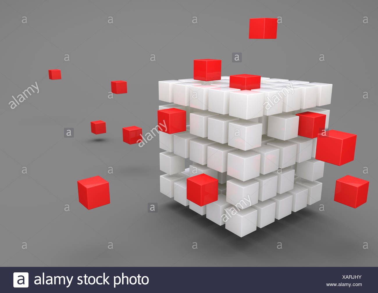 3D Illustration, Outsourcing, porcelain cubes with red cubes on gray background - Stock Image