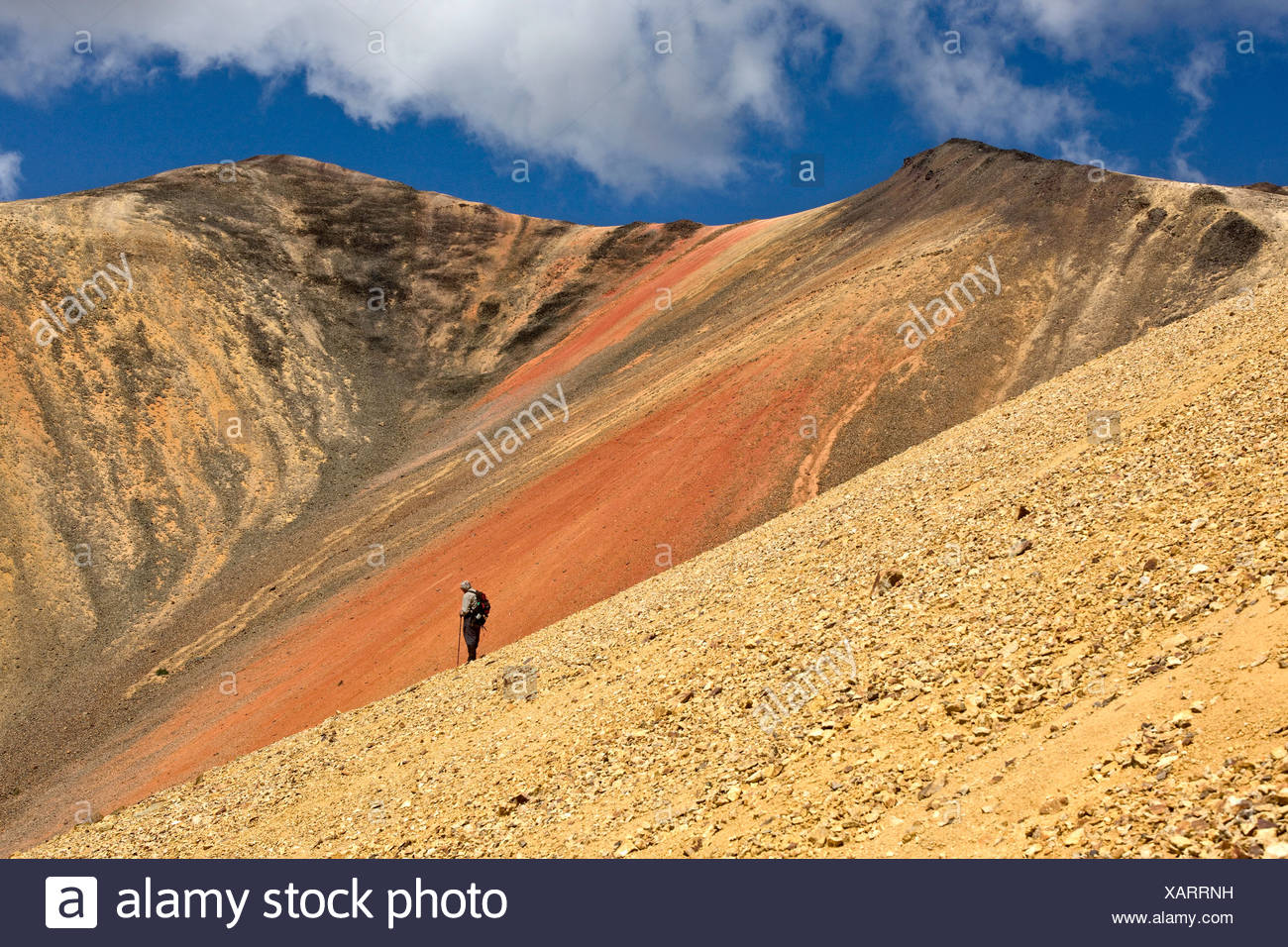 Hiking in the volcanic landscape of the Rainbow Mountains of British Columbia Canada Stock Photo