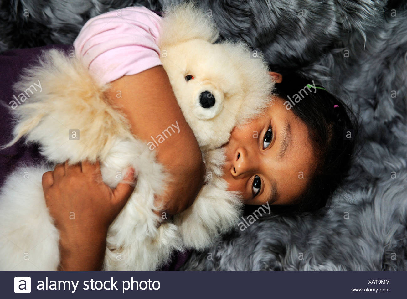Girl with indigenous facial features hugging a teddy bear, production of soft toys and carpets from alpaca fur in a small family - Stock Image
