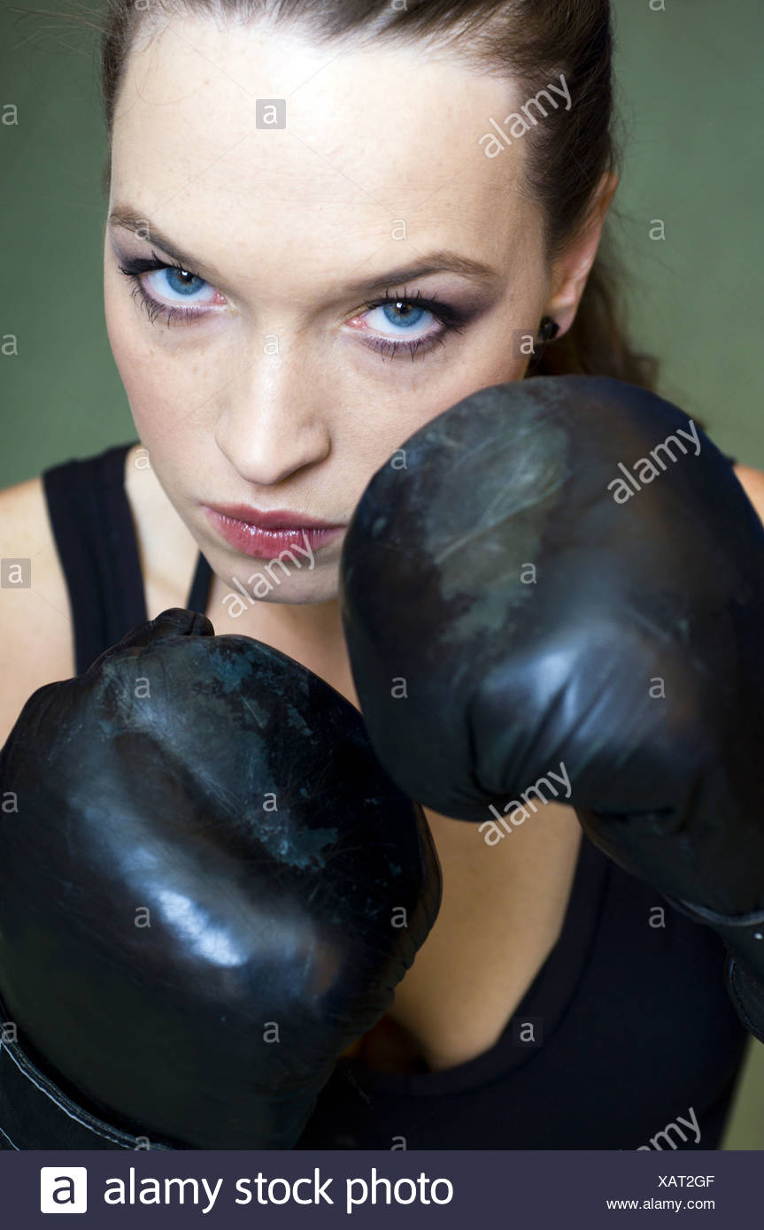 Boxing woman - Stock Image