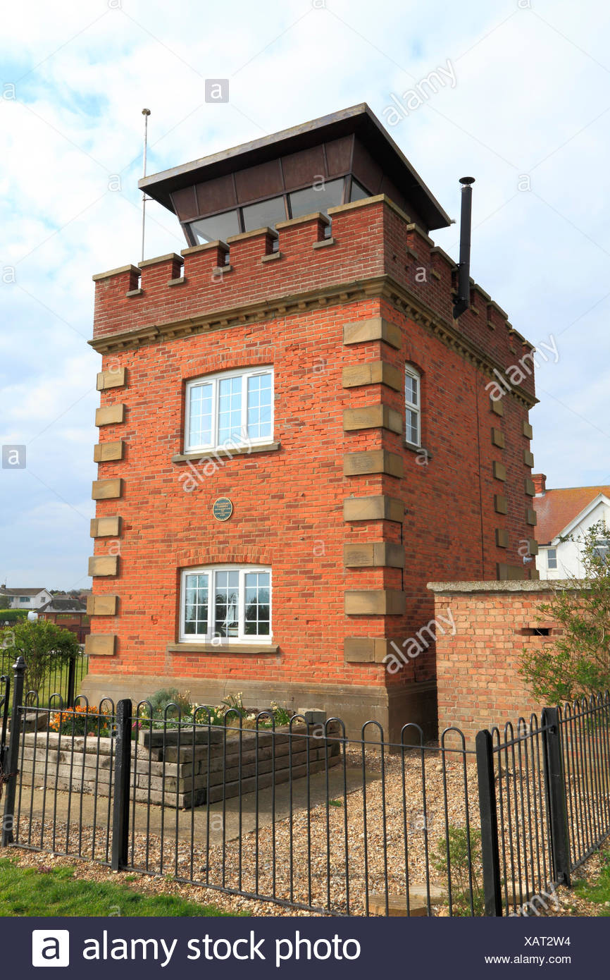 Former coastguard lookout tower and Marconi wartime listening post, on coastal clifftop, Hunstanton Norfolk UK, instrumental in plotting position - Stock Image