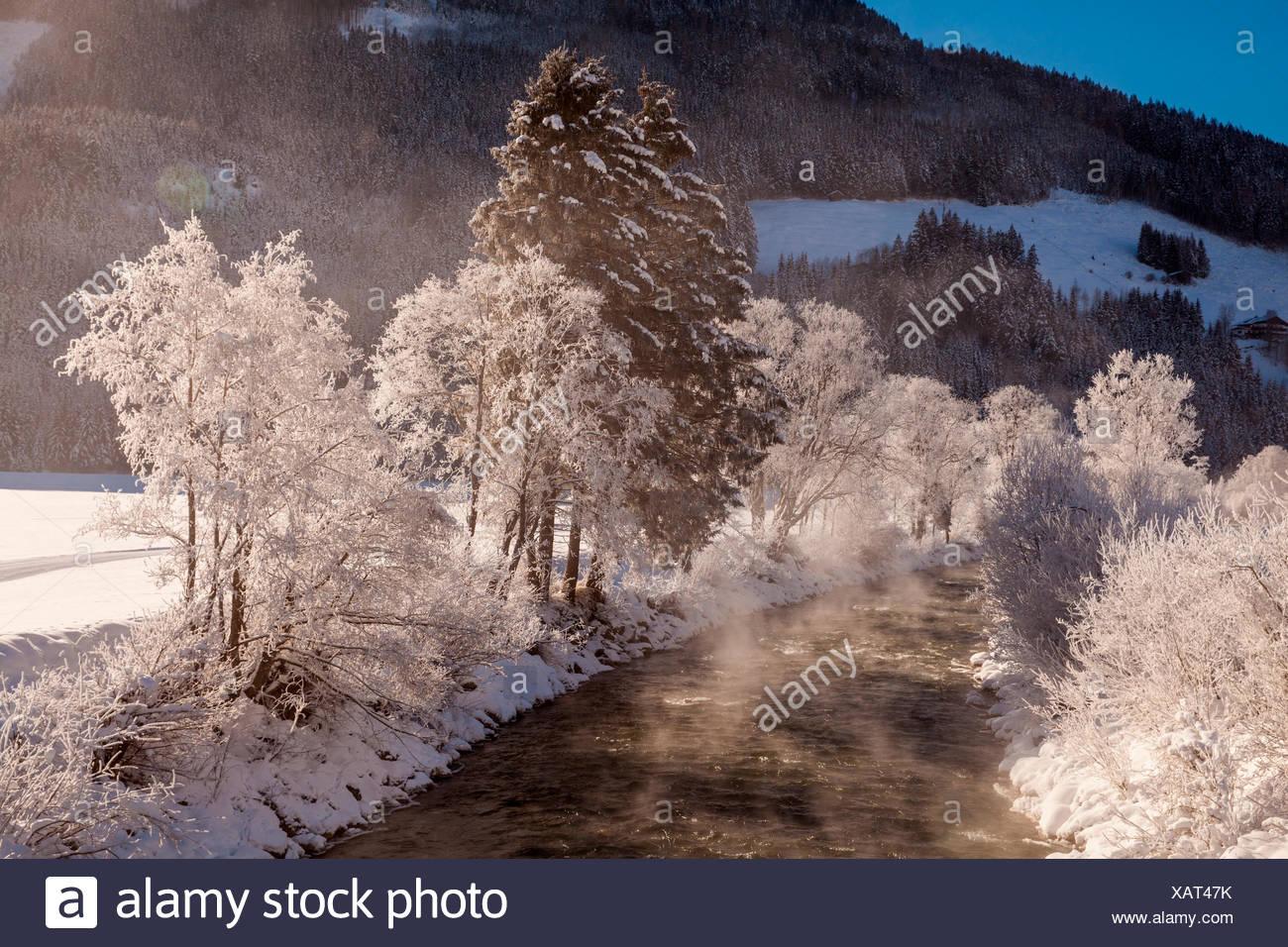 Winter morning, Neukirchen, Pinzgau, Austria - Stock Image