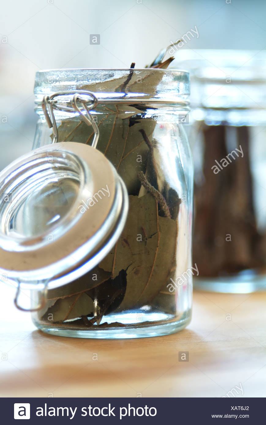 Dried bay leaves - Stock Image