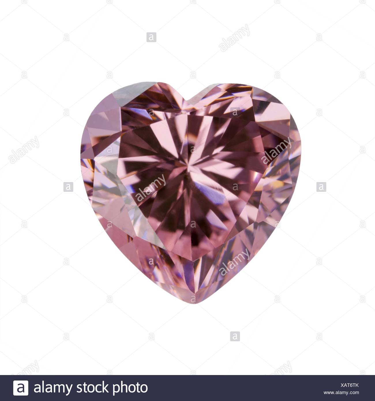 Pink gemstone in the shape of heart - Stock Image