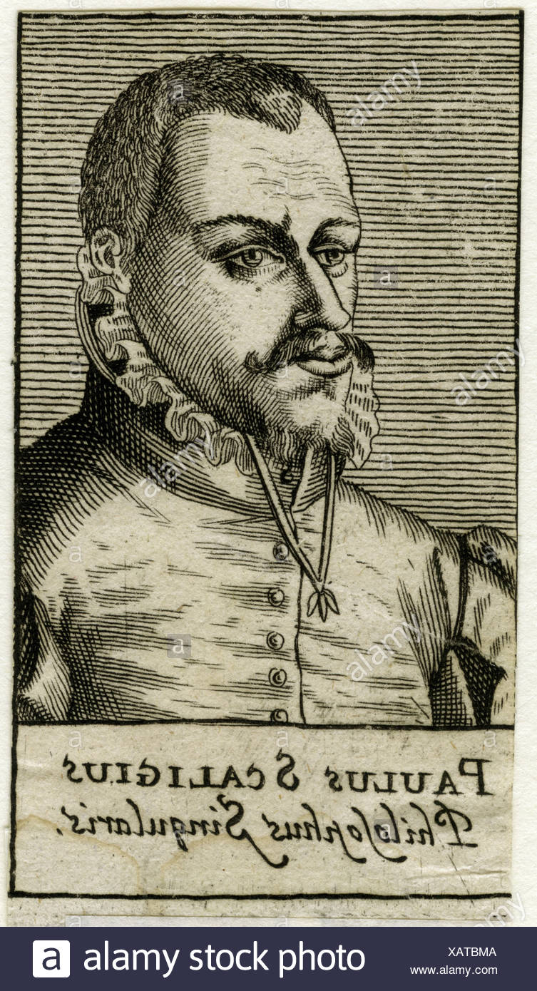 Scalichius, Paulus, 1534 - 1573, Croatian publicist and theologian, portrait, engraving, 16th century, Artist's Copyright has not to be cleared - Stock Image