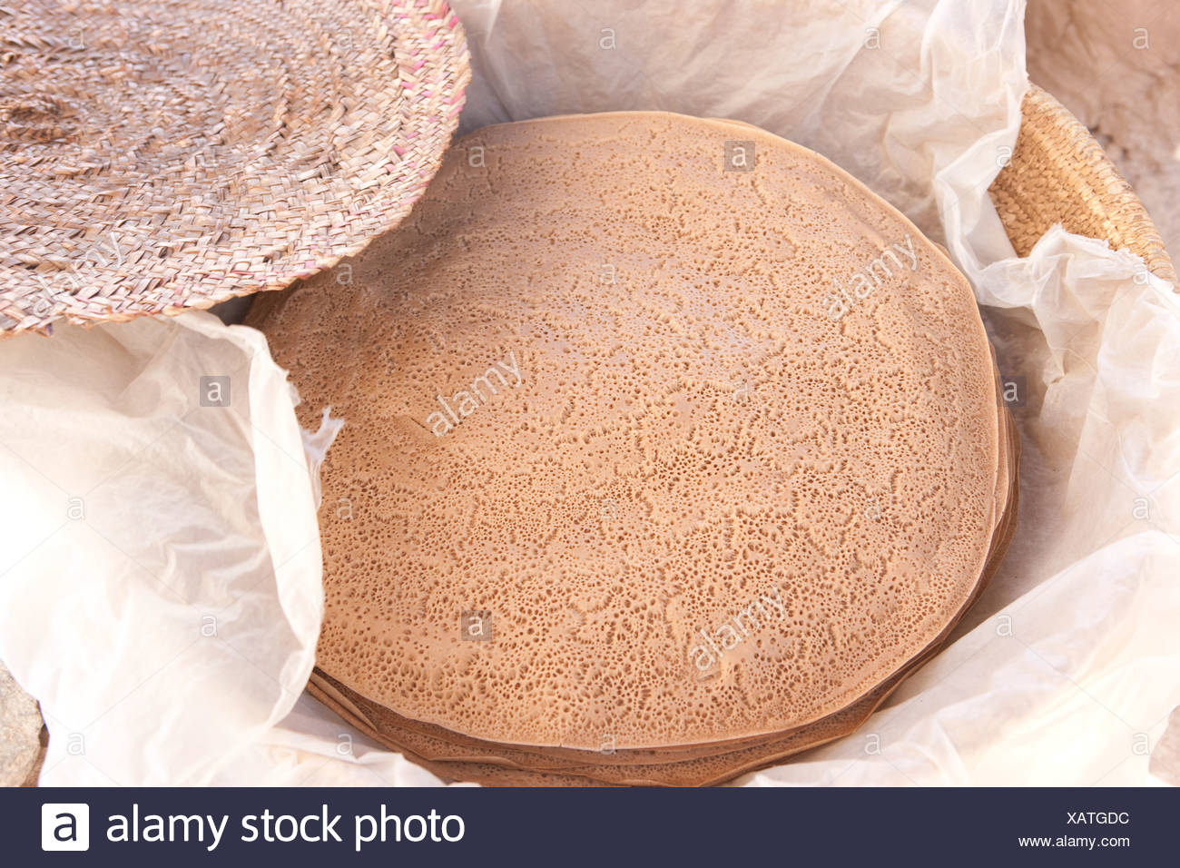 Production, Achievement, court, dish, Injera food, Food, traditionally, Ethiopia, - Stock Image