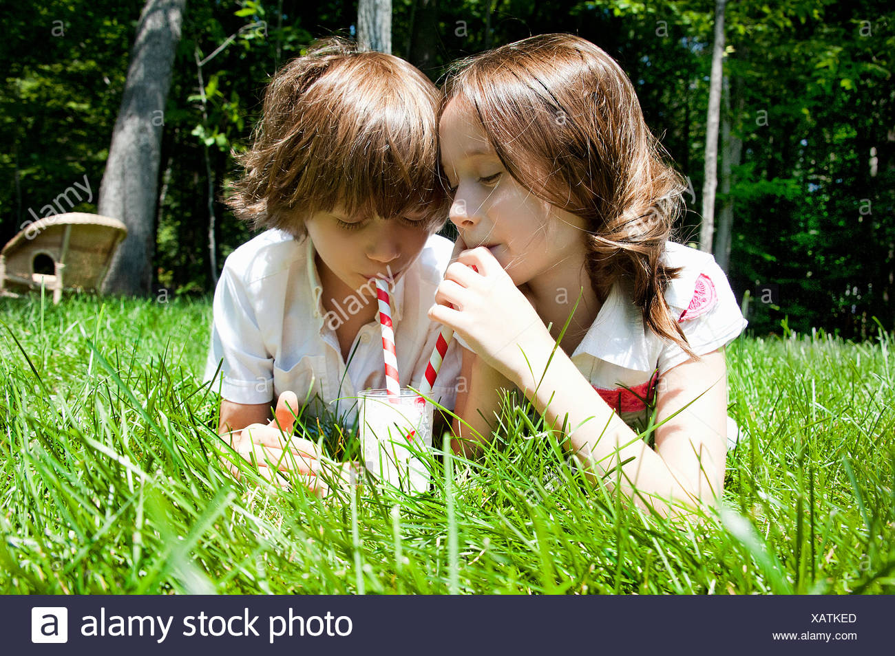 Brother and sister in woods sharing a milkshake - Stock Image