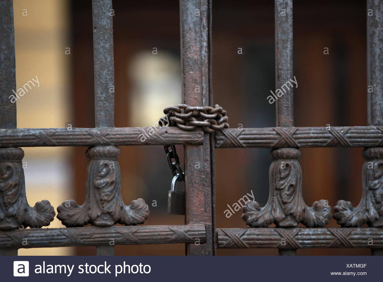 Steel gate closed with a padlock - Stock Image