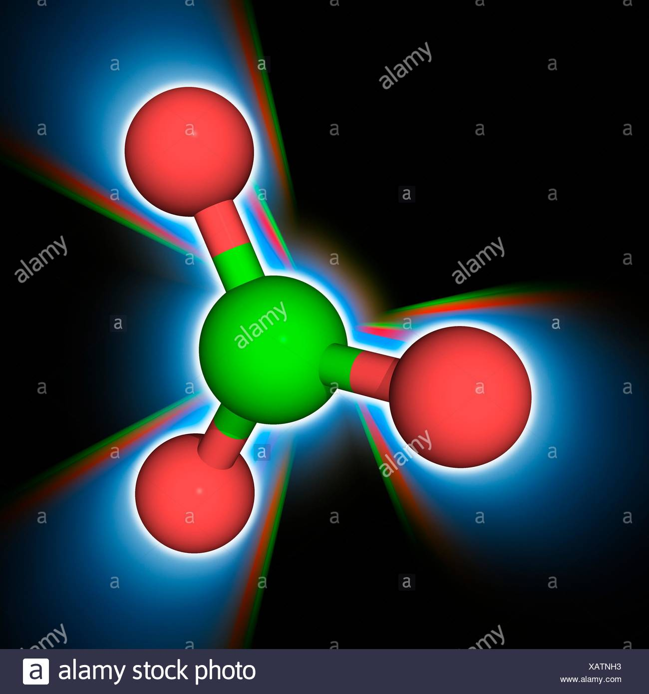 Chlorate ion. Molecular model of the chlorate anion (Cl.O3-). This is a powerful oxidizer and will readily combust with a range of substances. The ion has a trigonal pyramidal structure. Atoms are represented as spheres and are colour-coded: oxygen (red) and chlorine (green). Illustration. Stock Photo