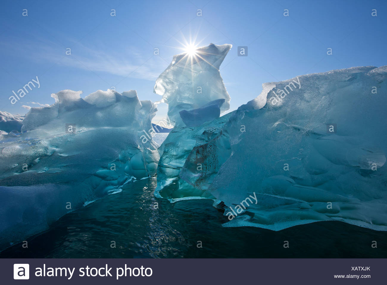 An iceberg floating on the calm waters of Holkham Bay at the entrance to Tracy Arm, Southeast Alaska, Autumn - Stock Image