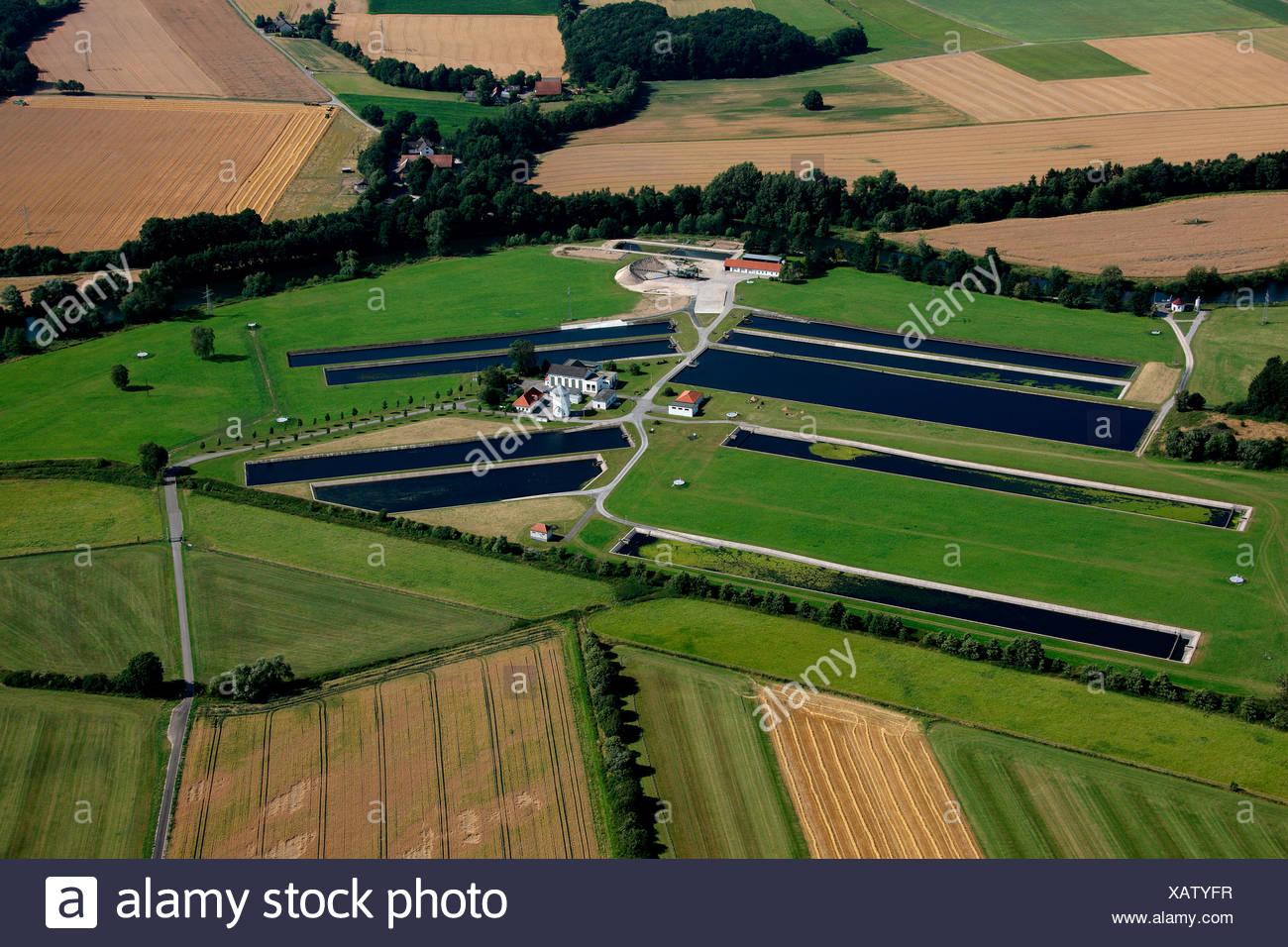 Aerial photograph, Warmen waterworks, Hamm public utility, Ruhr area, North Rhine-Westphalia, Germany, Europe Stock Photo