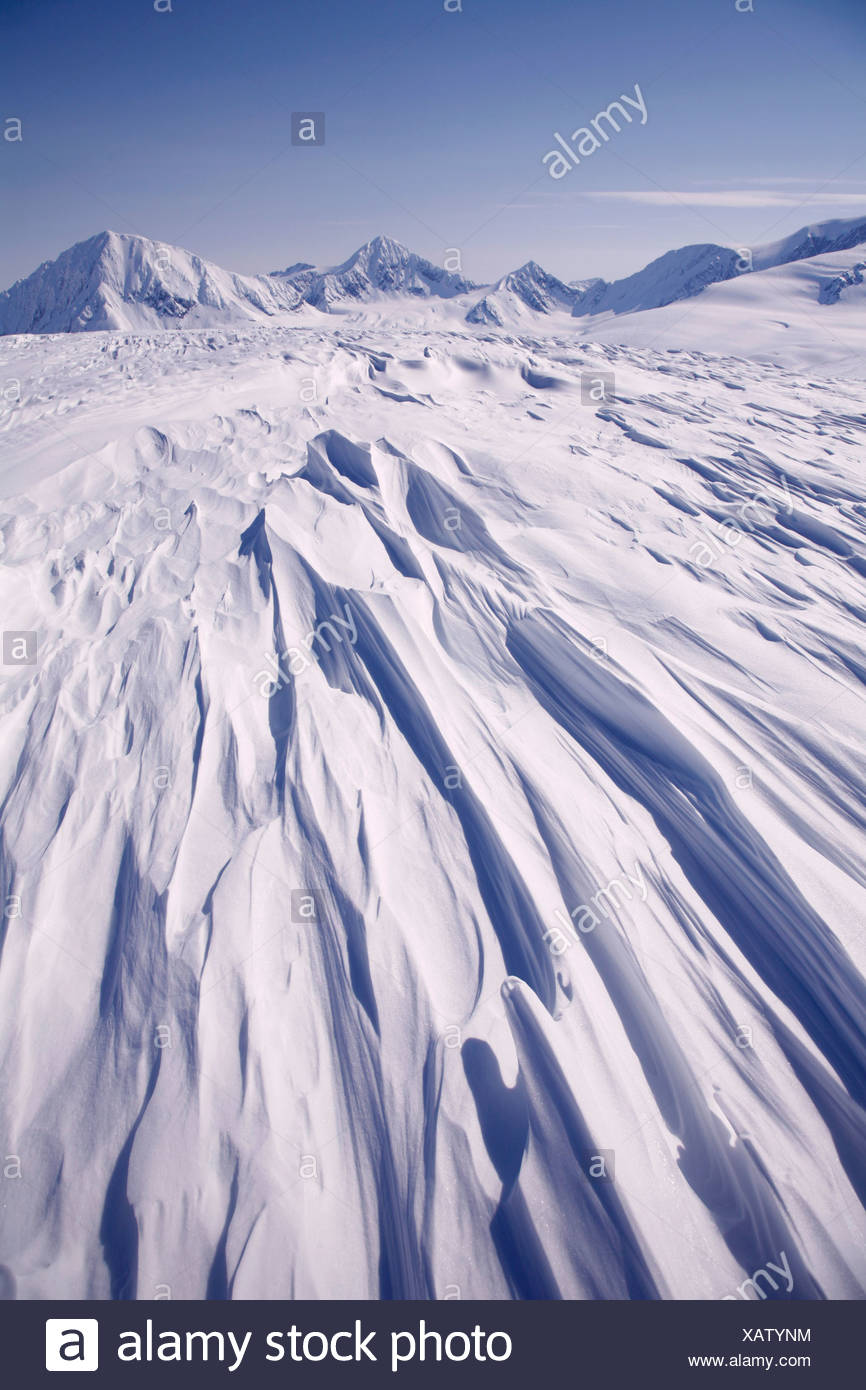 Snow drifts on Spencer Glacier, Kenai Mountains, Chugach National Forest, SC, Alaska - Stock Image