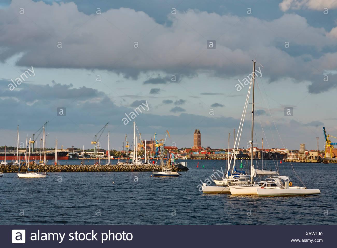 Sailboats at harbor Baltic sea Wismar Mecklenburg-Western Pomerania Germany - Stock Image