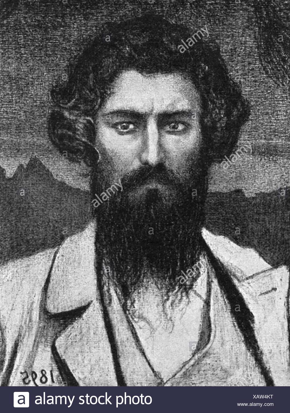 Segantini, Giovanni, 15.1.1858 - 28.9.1899, Italian painter, self-portrait, 1895, Additional-Rights-Clearances-NA - Stock Image