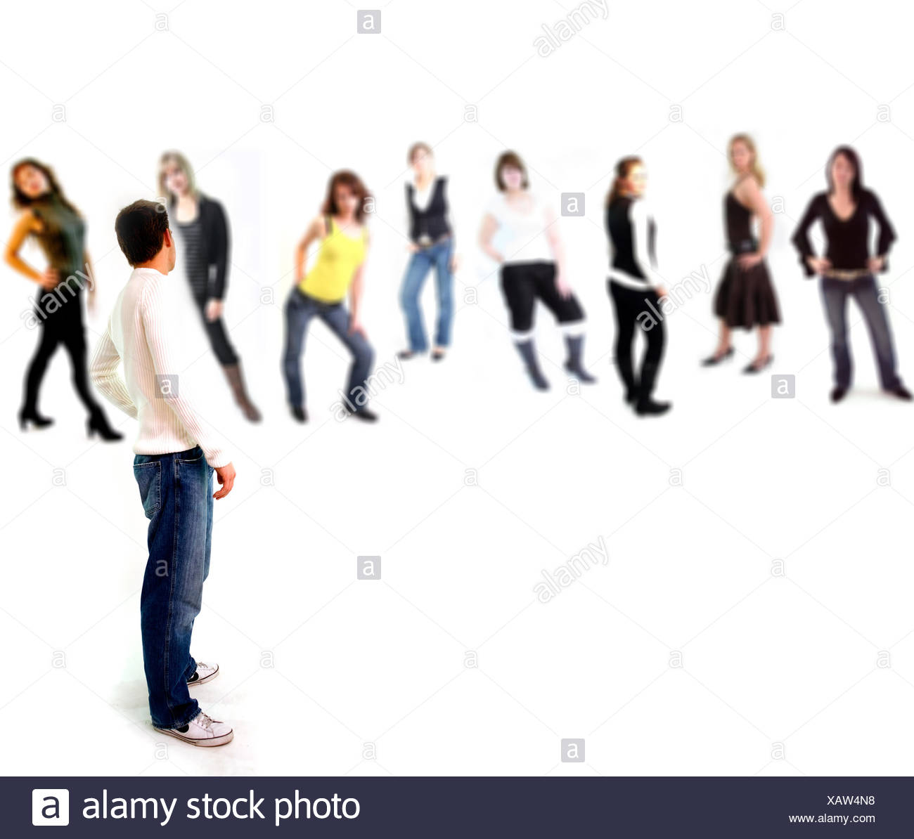 woman women poses competition group photo model model man guy woman women poses - Stock Image