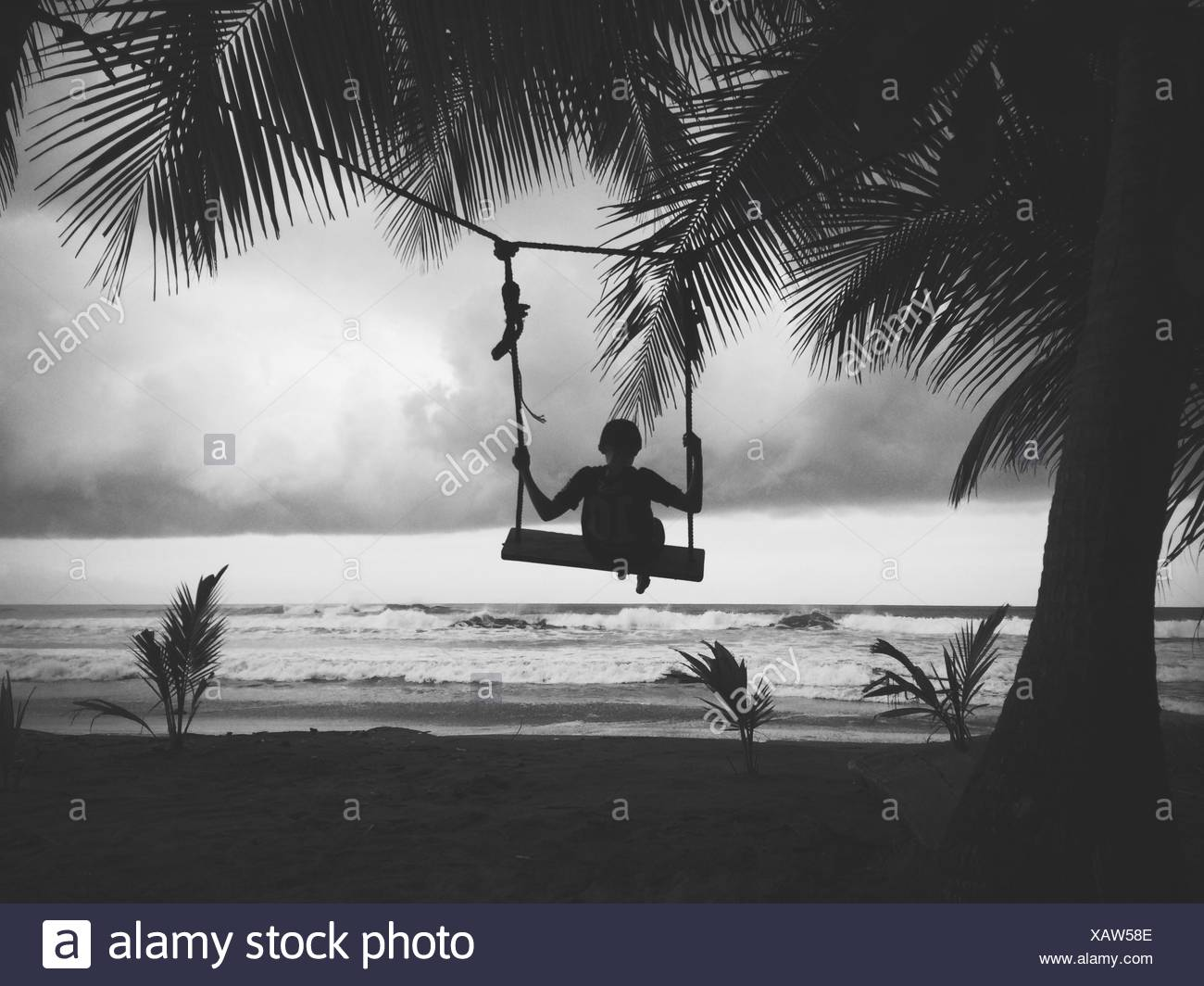 Silhouette of boy sitting on a swing on the beach stock image
