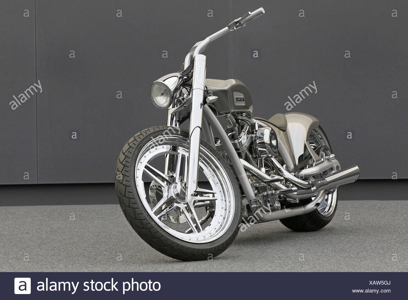 Motorcycle, chopper AMG, diagonal, tilted front view, silver, design motorcycle, - Stock Image
