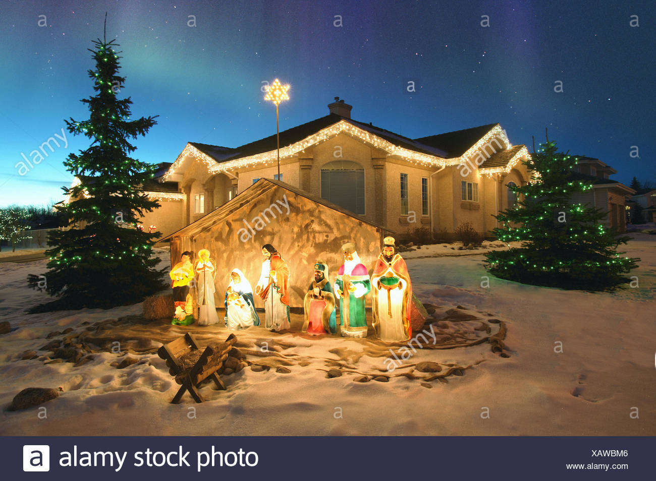 Christmas nativity scene stock photos christmas nativity scene outdoor christmas nativity scene with northern lights overhead alberta canada stock image workwithnaturefo